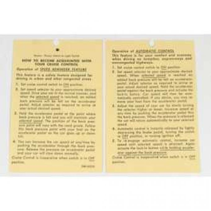 Chevelle Literature, Cruise Control Instruction Tag, 1970-1974