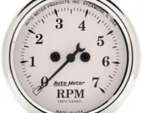 Chevelle Tachometer, 7000 RPM, Old Tyme White, AutoMeter, 1964-1972