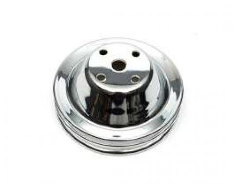 Chevelle Water Pump Pulley, Small Block, Double Groove, Chrome, 1969-1972