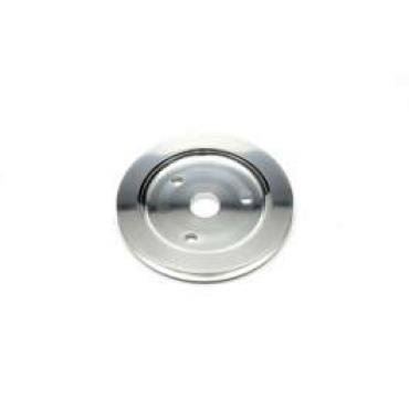 Chevelle Crankshaft Pulley, Small Block, Single Groove, Polished Billet Aluminum, For Cars With Short Water Pump, 1964-1968