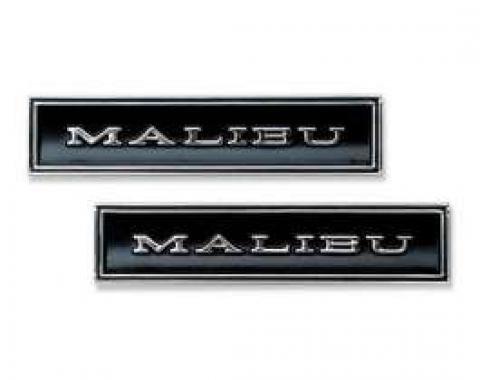 Chevelle Door Panel Emblems, Front, Malibu, 1970-1972