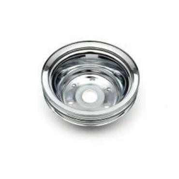 Chevelle Crankshaft Pulley, Small Block, Double Groove, Chrome, 1969-1972