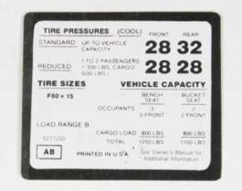 Chevelle Decal, Tire Pressure Super Sport (SS), 1972