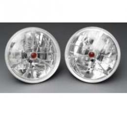 Chevelle Headlights, Tri Bar H-4 Halogen, Red Dot, 1971-1972