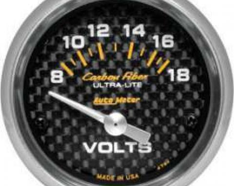 Chevelle Voltmeter, Carbon Fiber Series, AutoMeter, 1964-1972