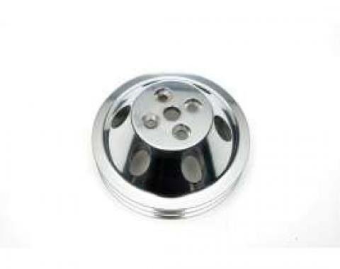 Chevelle Water Pump Pulley, Small Block, Double Groove, Polished Billet Aluminum, For Cars With Short Water Pump, 1964-1968