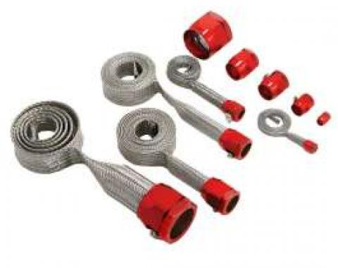 Chevelle Hose Cover Kit, Stainless Steel, Universal, With Red Clamps