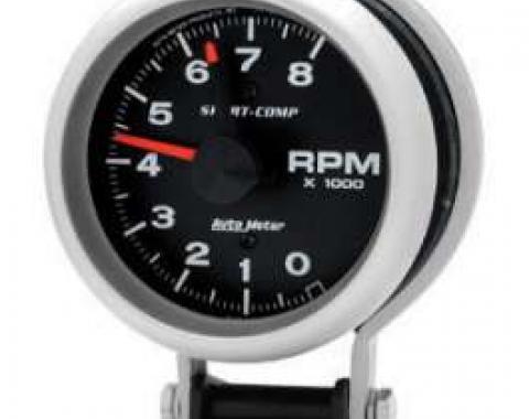 Chevelle Tachometer, Pedestal Mount, 8,000 RPM, Sport-Comp Series, AutoMeter, 1964-1972