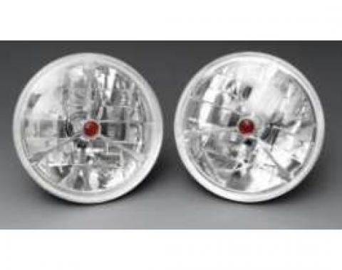Chevelle Headlights, Tri Bar H-4 Halogen, Red Dot, 1971-1972