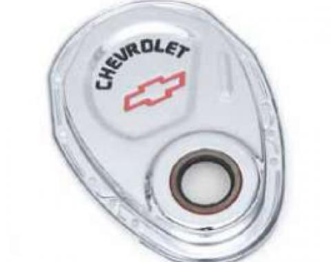 Chevelle Timing Chain Cover, Small Block, Chrome, With Chevrolet Script & Bowtie Logo, 1964-1972