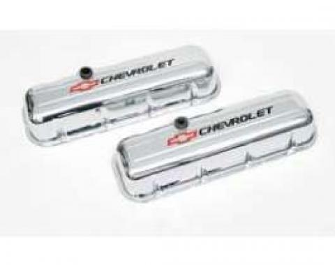 Valve Covers, Big Block, Tall Design, Chrome, With Baffle, Chevrolet Script & Bowtie Logo, 1965-1977