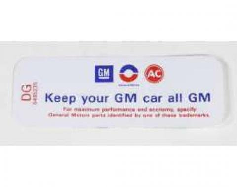 Chevelle Air Cleaner Decal, C.I, Keep Your GM All GM, DG, 1970-1972
