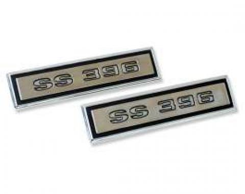 Chevelle Door Panel Emblems, Front, 2-Door Coupe, SS396, 1968