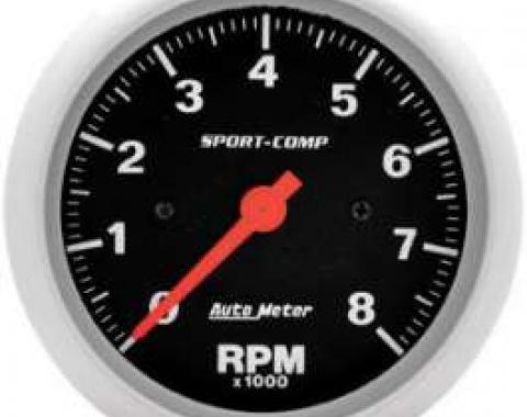 Chevelle Tachometer, In-Dash Mount, 8,000 RPM, Sport-Comp Series, AutoMeter, 1964-1972