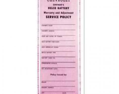 Chevelle Literature, Bat Warranty Certificate, 1964-1965