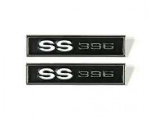 Chevelle Door Panel Emblems, Front, SS396, 1969
