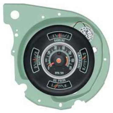 Chevelle Instrument Gauge Cluster, Complete Assembly With Tachometer, 1969
