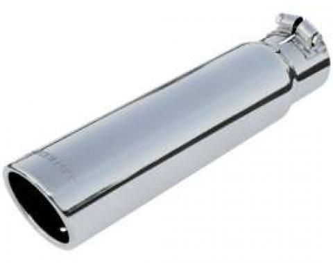Chevelle Exhaust Tip, 4 x 7.5, For 2.5 Pipe, Rolled Edge, Double Wall, Polished Stainless Steel, Flowmaster, 1964-1972