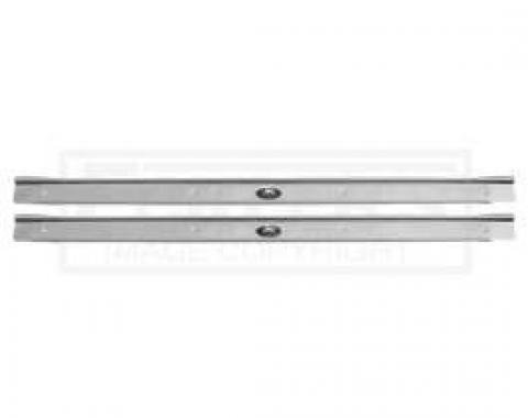 Door Sill Plates, Riveted Fisher Emblem, With Ribs, For Cars With 2-Doors, 1964-1967