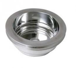 Chevelle Crankshaft Pulley, Small Block, Single Groove, Polished Billet Aluminum, For Cars With Long Water Pump, 1969-1972