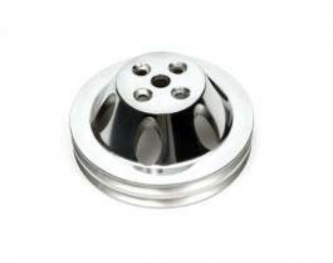 Chevelle Water Pump Pulley, Big Block, Double Groove, Polished Billet Aluminum, For Cars With Short Water Pump, 1964-1968
