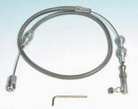 Chevelle Throttle Cable Assembly, 24 Long, Stainless Steel, Hi-Tech, Lokar, 1964-1972