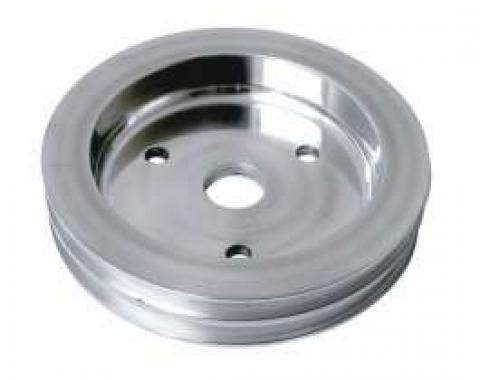 Chevelle Crankshaft Pulley, Small Block, Double Groove, Polished Billet Aluminum, For Cars With Short Water Pump, 1964-1968