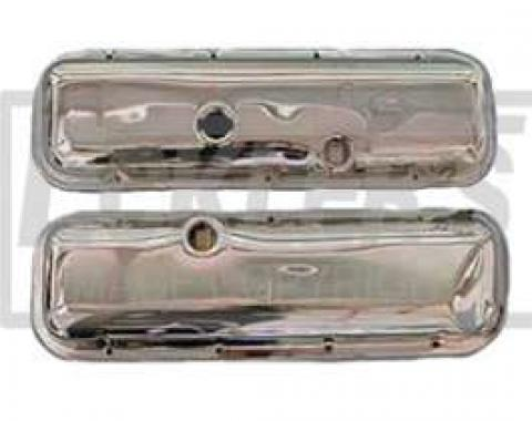 Chevelle Valve Covers, Big Block, Chrome, For Cars Without Power Brakes, 1965-1972