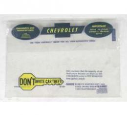 Chevelle Plastic Bag, Owners Manual, 1967-1968