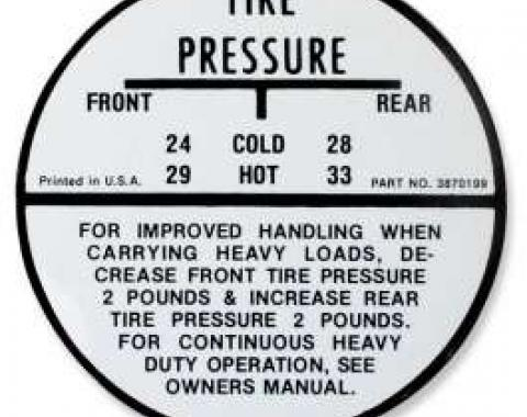 Chevelle Tire Pressure Decal, El Camino, 1964-1965