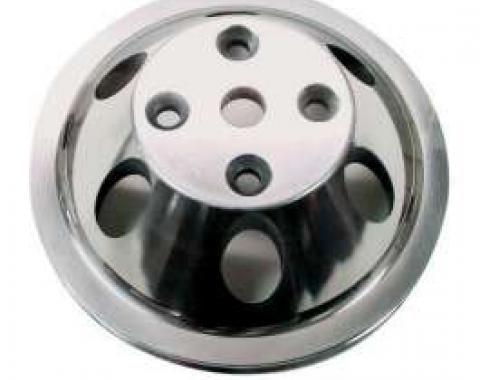 Chevelle Water Pump Pulley, Small Block, Single Groove, Polished Billet Aluminum, For Cars With Long Water Pump, 1969-1972
