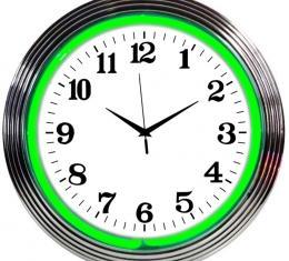 Neonetics Neon Clocks, Chrome Green Standard Neon Clock