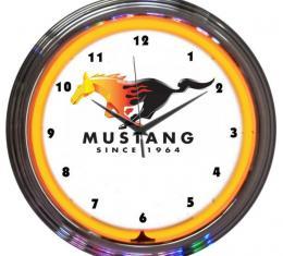 Neonetics Neon Clocks, Ford Mustang Since 1964 Orange Neon Clock