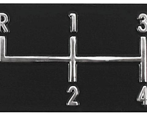 RestoParts Console, SHIFT PATTERN PLATE, 1968-72 Chevelle/El Camino/Monte, 4 Speed SPP4580