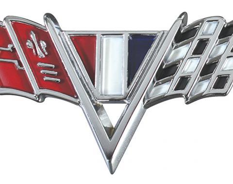 RestoParts Emblem, Fender, 1964-67 Chevelle/El Camino, V Flags TZ00044