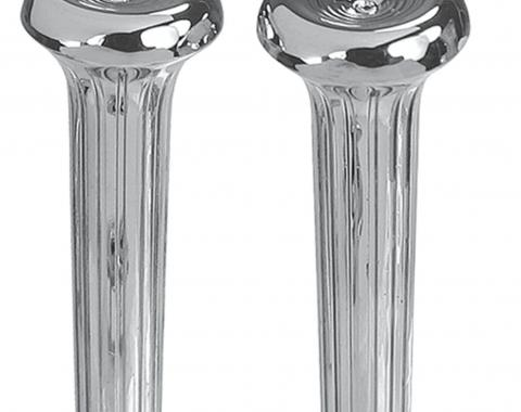 RestoParts Knobs, Door Lock, 1968-77 Chrome, Ribbed, Pair CH26141