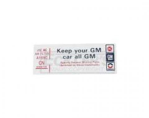 El Camino Air Cleaner Decal, Do Keep Your GM All GM, 1979