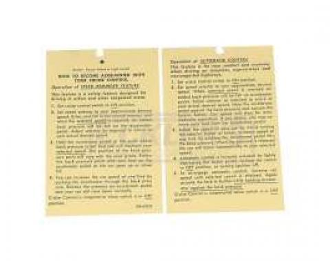 El Camino Cruise Control Instruction Tag, 1970-1974