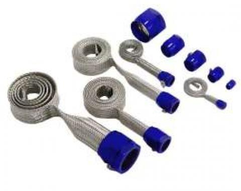 El Camino Hose Cover Kit, Stainless Steel, Universal, With Blue Clamps
