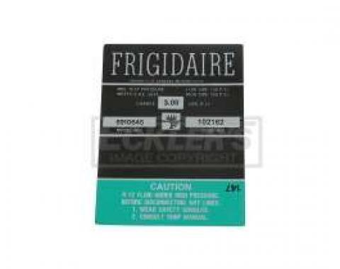 El Camino Air Conditioning Compressor Decal, Frigidaire Air, 1967-1968