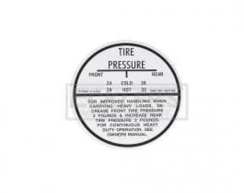 El Camino Tire Pressure Decal, 1964-1965