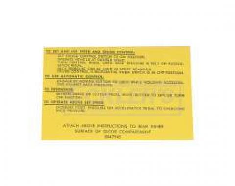 El Camino Cruise Control Instruction Tag, 1964-1966