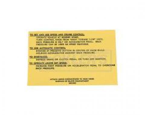 El Camino Cruise Control Instruction Tag, 1967-1969