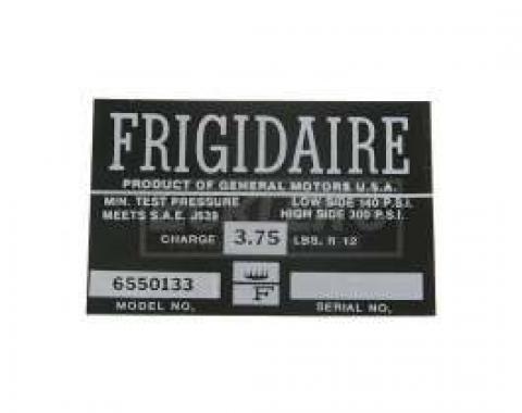 El Camino Air Conditioning Compressor Decal, Frigidaire, 1964-1965