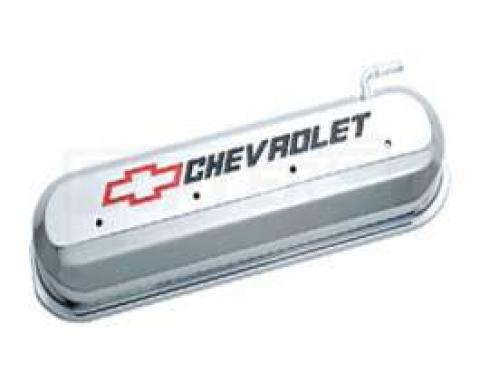 LS Series Motors, V8, Valve Cover, Chrome With Recessed Red And Black Emblems