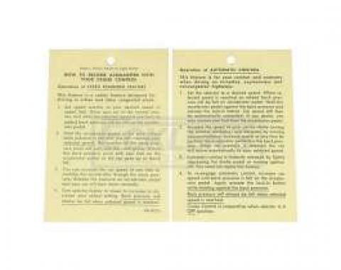 El Camino Cruise Control Instruction Tag, 1965-1969