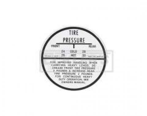 El Camino Tire Pressure Decal, 1959-1960