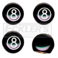 El Camino Valve Stem Caps, 8 Ball, Black, 1959-1987
