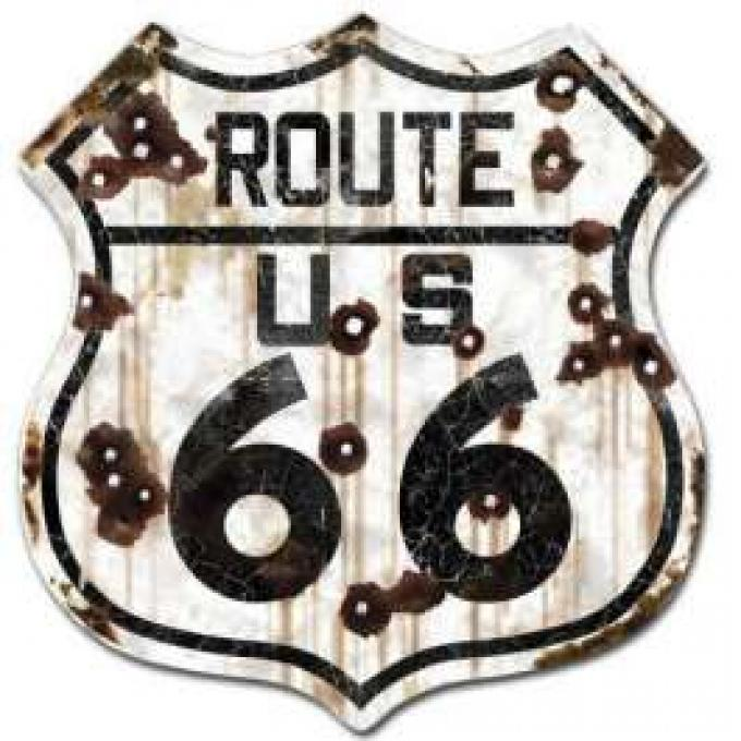 Road Sign, Route 66, Weathered