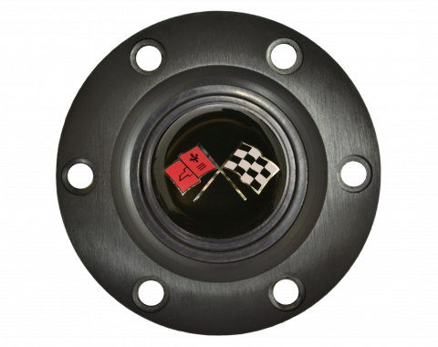 Volante S6 Series Horn Button Kit, Cross Flags, Black
